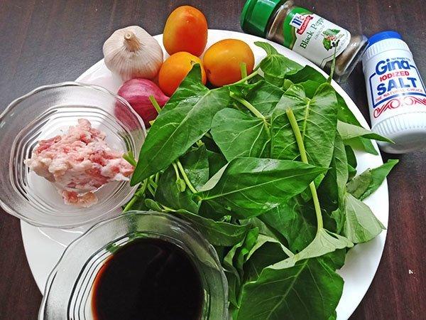 Ginisang Kangkong or Adobong Kangkong Ingredients, Stir-fried water spinach with ground pork ingredients, Mom Food Blog