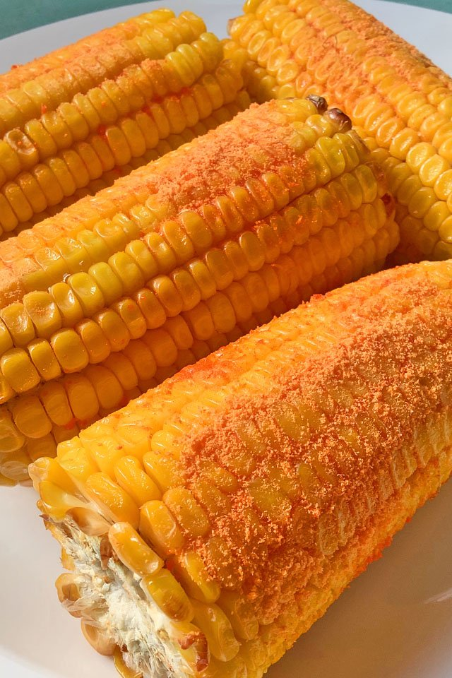 Air Fryer corn on the con in a plate, Mom Food Blog